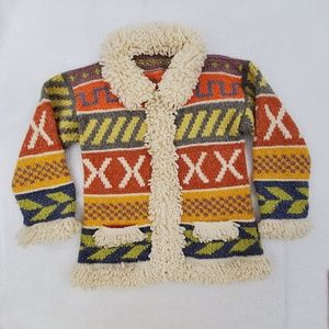Vintage Sweater Knit Chunky Faux Fur Orange Tribal